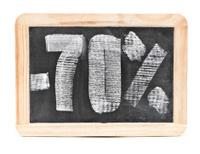 seventy percent discount written on blackboard