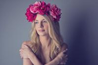 Blonde girl in a flower crown