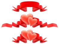 Decorative borders from hearts with ribbon.