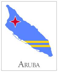 Aruba flag map
