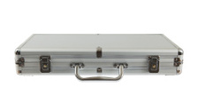 Silver metal briefcase isolated