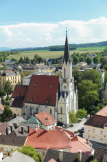melk city view from stift abbey at austria