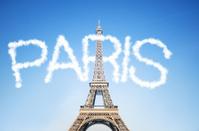 Tour Eiffel behind the clouds on Paris
