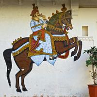 Fresco of horse & rider in Udaipur, India