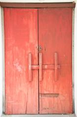 Old red door