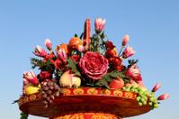 Huge flower basket in Tiananmen square,  Beijing, China