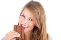 Enjoying chocolate bar