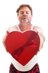 Scruffy Valentine Guy Ready for Kiss