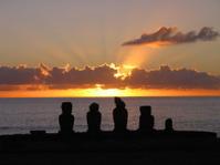 Easter Island Moai at Sunset