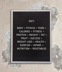 Diet concept in plastic letters on very old menu board