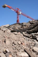 rubble and crane