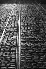 Tram line and cobblestones in Dublin