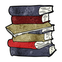 cartoon pile of books