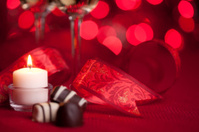 Romantic candlelight, wine and chocolates