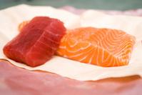 Fresh filets of Pacific salmon and Ahi tuna
