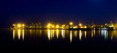 Night panorama sea port of Odessa, Ukraine.