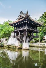 Shrine over the pool in Hanoi , Vietnam