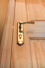 Wooden door and bronze handle