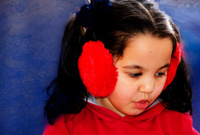 Little girl with ears warmer
