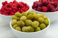 frozen berries in saucers