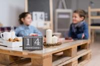 Couple of children having breakfast during valentines day