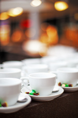 Rows of cups in cafe