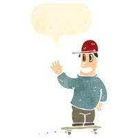 retro cartoon skater boy with speech bubble