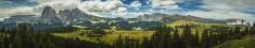 Wide Dolomites Landscape: Catinaccio, Sassolungo from Siusi High