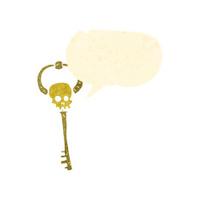 retro cartoon spooky magic key