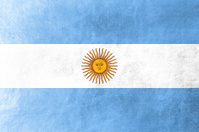 Argentina Flag painted on leather texture
