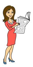 Woman read newspaper
