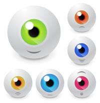 Vector eyeball set with smiles