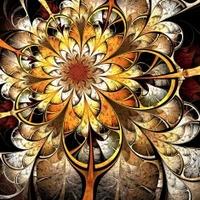 Dark yellow and orange fractal flower