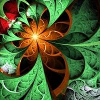Dark green and orange fractal flower