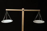 Two White Pan Balance