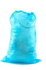 blue rubbish bag on white background - blauer Müllsack