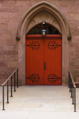 red church entrance door