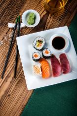 Japanese sushi set, oriental theme