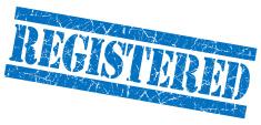 Registered grunge blue stamp