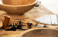 Carpentry Manufacture Workshop. Tools. Shaver. Wood Samples.