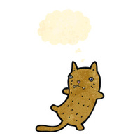 retro cartoon cat with thought bubble