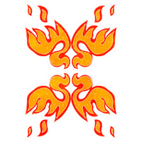 retro cartoon decorative flame symbol