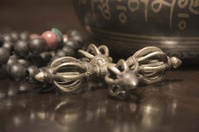 Dorje, prayer beads and singing bowl