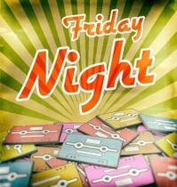 Friday night music vintage poster design Retro