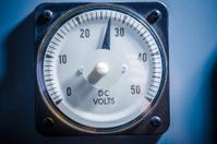 Power voltage meter closeup