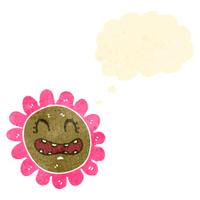 retro cartoon flower iwth face