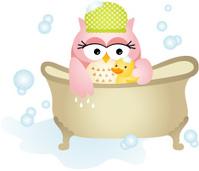 Owl Taking a Bath