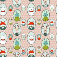 Animals portraits pattern polka dots