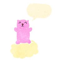 retro cartoon pink teddy bear on cloud