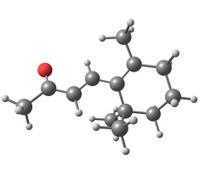 Beta-ionone molecular structure on white